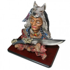 Native American Themed Knive and Stand (WK039)